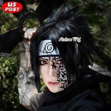Anime Sasuke Uchiha Men Halloween Cosplay Short Black Layered Hair Wig