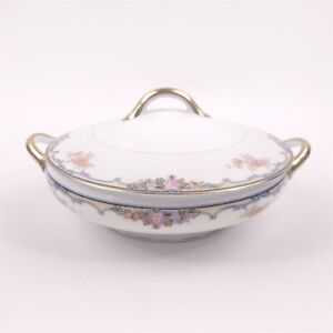 Noritake Oxford Round Covered Vegetable Bowl Handled Yellow Blue Scrolls Floral