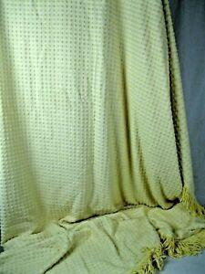 "Farmhouse  Yellow  Vintage Chenille Bedspread Fabric !20' x 100""."