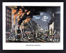 Currier & Ives Print - Life of a Fireman - Burning Buildings Fire Engine Vintage