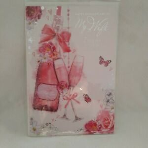 Simon Elvin Wife Wedding Anniversary Card - Champagne and Glasses-New Ex Display