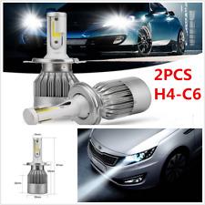 2X COB H4 C6 7600LM 72W LED Car Headlight Kit Hi/Lo Turbo Light Bulbs 6000K