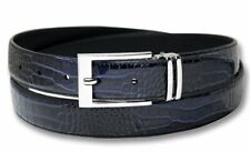 Biagio Croc Embossed NAVY BLUE Mens Bonded Leather Belt Silver-Tone Buckle sz 36