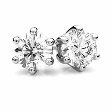 Earrings Diamond Unique 2ct Solitaire Solid Platinum Studs 6 Claw