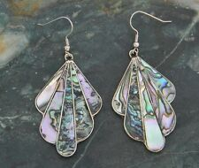 Mexico Alpaca Silver Vintage Tribal Dangle Earrings Abalone Shell Inlays A12