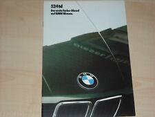 62998) BMW 5er Reihe E28 524td Prospekt 02/1985