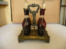 VINTAGE RUBY RED CUT TO CLEAR SILVER PLATE CASTOR CONDIMENT SET