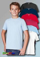 KARIBAN Kinder Kurzarm T-Shirt Rundhals uni in 6 Farben und 5 Größen 4-14 Jahre