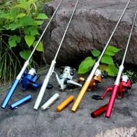 Aluminum Mini Retractable Pocket Pen Fishing Rod Pole with Fishing Reel Fish EN