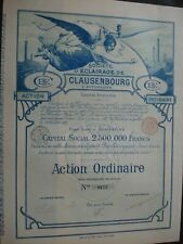 SUPERBE ACTION ROUMANIE ROMANIA SOCIETE ECLAIRAGE CLAUSENBOURG  1897