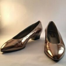 Vintage Sesto Meucci Deadstock Leather Goldie Pewter Heels Made Florence Italy