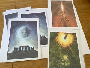 Set of 5 Note Cards with Pagan Theme.Stonehenge, Green Man, Flash of Inspiration