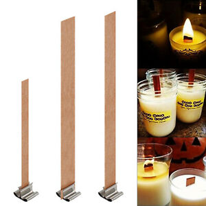 50X Practical Wooden Candles Core Wick Candle Making Supplies With Iron Stands