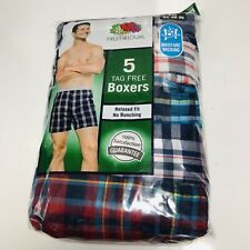 5 Pack Fruit of the Loom Boxers Fashion Plaids 2XL 44-46 Tag free Relaxed