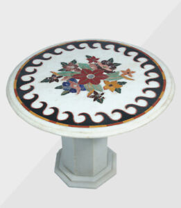 """30"""" Marble Table Top Semi precious stones Work With 18"""" marble Stand"""