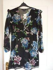 MISS SELFRIDGE BLACK ROSANNA FLORAL RUFFLE MINI DRESS UK 14, EUR 42, US 10 BNWT
