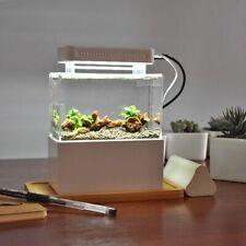 Portable Desktop Mini Fish Tank Aquarium Betta Water Filtration Led Light Decor