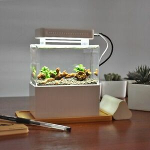 Portable Desktop Mini Fish Tank Aquarium Betta Water Filtration Led Light Decor