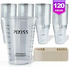 10oz Disposable Graduated Clear Plastic Cups for Mixing Paint, Stain, Epoxy,.