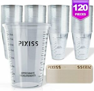 10oz Disposable Graduated Clear Plastic Cups for Mixing Paint, Stain, Epoxy,...