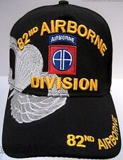 82ND AIRBORNE VETERAN Cap/Hat w/Shadow New Black Military**Free Shipping**