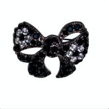 Faux Onyx CZ Embellished Black Silver Bow Broach Pin Cubic Zirconia