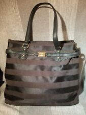 "Tommy Hilfiger Black Subtle Stripe  Tote Purse Bag small Weekender Laptop 14""x12"