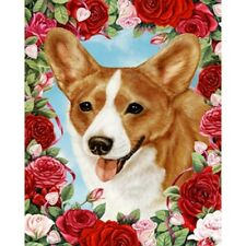Roses House Flag - Red and White Cardigan Welsh Corgi 19243
