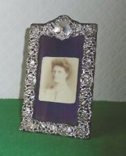 ANTIQUE SILVER PHOTOGRAPH FRAME ART NOUVEAU REPOUSSE FLOWERS HALLMARKED c 1902