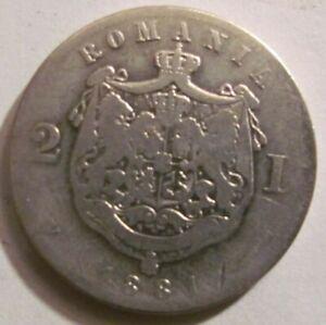 ROMANIA Kingdom 2 lei 1881 King Carol I silver genuine / rare