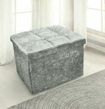 Crushed Velvet Diamante Ottoman Foldaway Storage Box Seat Stool Silver Grey.