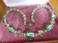 Vintage jewellery green glass foil bead necklace diamante barrel clasp