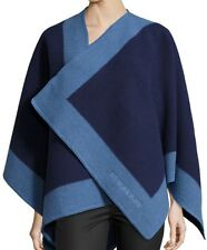 NWT BURBERRY CAPE SHAWL PONCHO FELTED WOOL CASHMERE COLOUR BORDER Blue