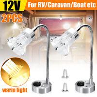 2Pcs 12V LED Reading Spot Light Warm RV Caravan Boat Bedside Wall Lamp