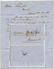 SMYRNA TURKEY 1859 LETTER to FRANCE PAQUEBOT MEDITERANEAN Ship Maritime