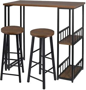 Kitchen Dining Table Coffee Bar Table with 2 Bar Stools Set Dark Beech