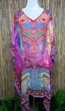 Plus Size Sheer Chiffon Embellished Kaftan Digital Printed Size 16-26 One Size