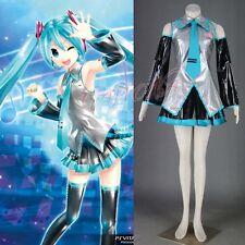 Cafiona VOCALOID Hatsune Miku Cosplay Costume Sexy Girls Mini Skirt Leather Set