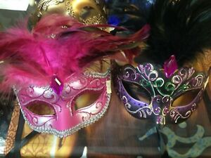 Set of 4 Exotic, Luxury, New Orleans, Masquerade, Party Girl Masks