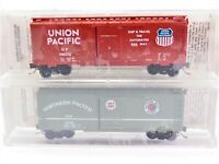N Scale Micro-Trains TexNRails Special Run UP NP 40' Box Car SEALED 2-Pack
