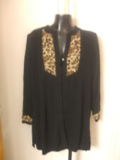 Exclusively Misook Large Cardigan Black Leopard Print Two Button Acrylic Long L