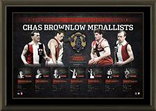 ST KILDA SIGNED AFL OFFICIAL BROWNLOW LITHOGRAPH FRAMED AFLPA HARVEY IAN STEWART