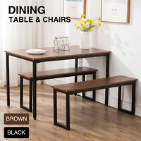 3-Piece Wood Dining Table Set With Two Bench Chair Kitchen Furniture Rectangular