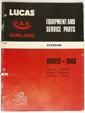 Lucas Roots 1966 Master Catalogue, Hillman Singer Humber Commer etc, CCE901/66