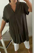ANNA GLOVER X H&M Ladies Dark Khaki Green Dress Short sleeves Size 14