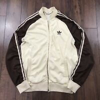 Vintage Vtg 70's Adidas Ventex Track Jacket Brown Made in France 1970 Sz Small