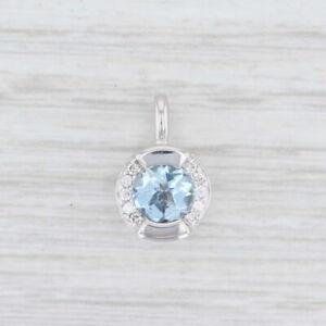 0.83ctw Movado Aquamarine Diamond Pendant 18k White Gold March Birthstone