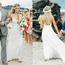 Latest Spaghetti Straps Beach Wedding Dress White/ivory Bridal Gown Size 6 8 10