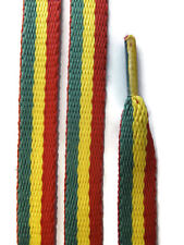 2 Pairs Red Yellow Green Rasta Shoelaces - 10mm Flat - Trainer Lace Shoe Sneaker