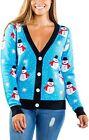 Women's Snowman Ugly Christmas Cardigan - Cute Blue Snowman Christmas Sweater Fe